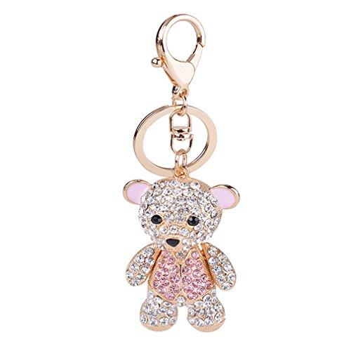 Sewanz Women's Rhinestones Teddy Bear Key Rings Chain, Bag Decorations