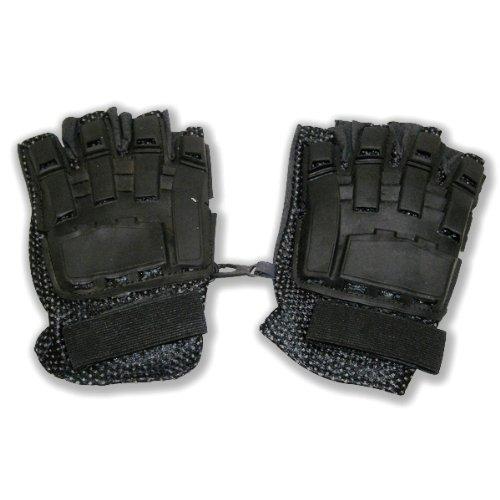 I&I SPORTS Black Flexon Half Finger Armored Paintball Gloves (LARGE) by I&I SPORTS