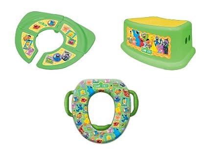 Sesame StreetFramed Friends 3 Piece Potty Training Kit Folding//Travel Potty and Step Stool Green Soft Potty