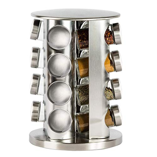 Double2C Revolving Countertop Spice Rack Stainless Steel Seasoning Storage Organization,Spice Carousel Tower for Kitchen Set of 16 Jars (Rack Spice Revolving Jars 20)