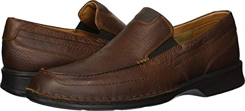 Clarks Leather Slip - CLARKS Men's Northam Step Loafer, Tobacco Leather, 080 M US