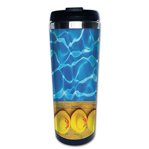 - Stainless Steel Insulated Coffee Travel Mug,Ducks Lined Up Near the Pool Azure Water Fun Summer,Spill Proof Flip Lid Insulated Coffee cup Keeps Hot or Cold 13.6oz(400 ml) Customizable printing