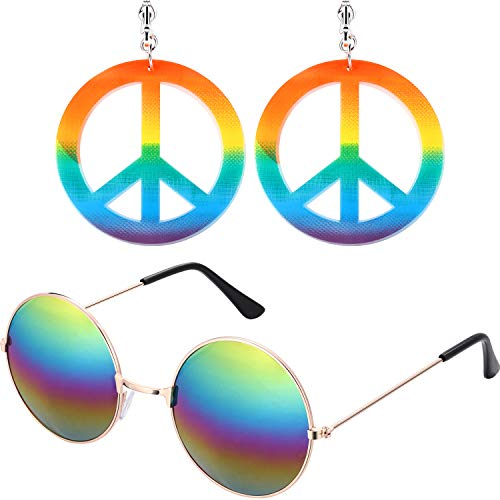Bememo Hippie Dressing Accessory Set 1 Pair of Hippie Style Peace Sign Earrings and 1 Pair of Hippie Glasses -