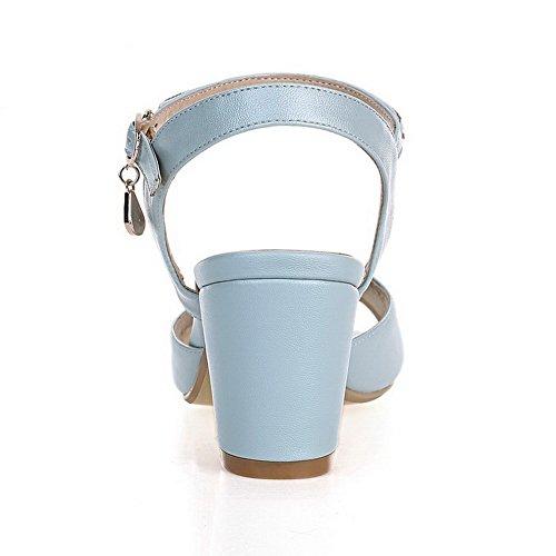 AgooLar Mujeres Puntera Abierta Tacón ancho Hebilla Sólido Sandalia Azul