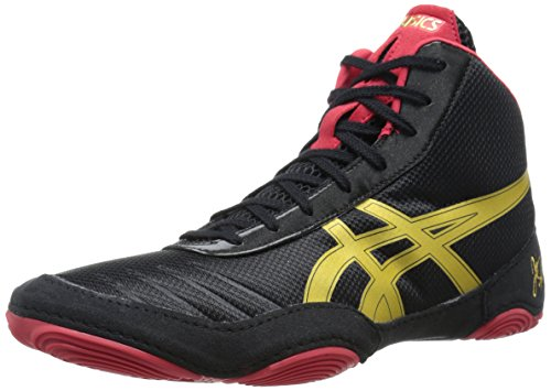 ASICS Men's JB Elite V2.0 Wrestling Shoe, Black/Olympic Gold/Red, 5 M US