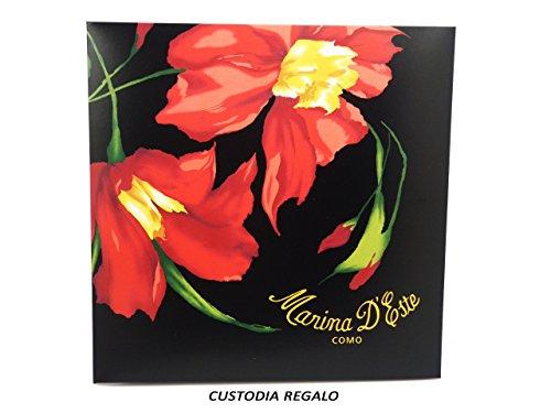 Cm Fantasia Turchese 90 Marina Blu Quadrato C865404 Floreale D'este Multicolore Donna 100 X Foulard Seta Petrolio qUq8wP