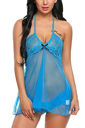 Avidlove Womens Halter V Neck Lingerie Set Lace Babydoll Mesh Nighties Blue -