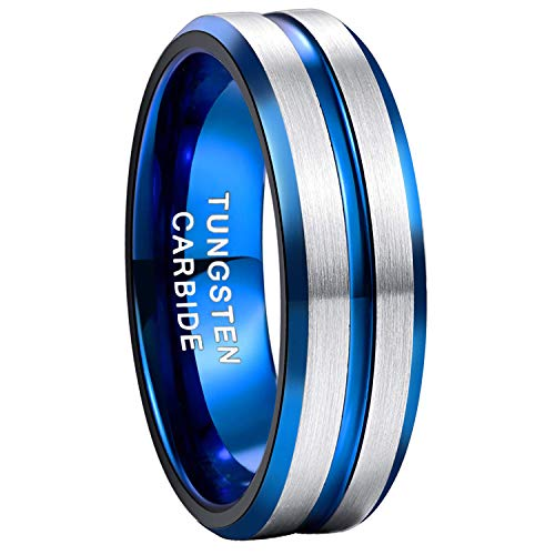 8mm Tungsten Ring for Men Blue Thin Groove Line Dome Brushed Comfort Fit Wedding Band Size 8 (Triple Tone Wedding Bands)