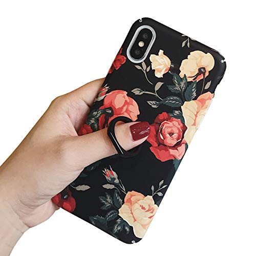- Jesiya for iPhone Xs Max Flower Case Fashion Floral Print Pattern Case for Girls Ultra-Thin Hard PC with Ring Stand Holder Kickstand Anti-Scratch Cover for iPhone Xs Max