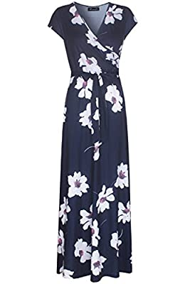 KRANDA Womens Vintage Floral Print Short Sleeve Maxi Long Party Dress