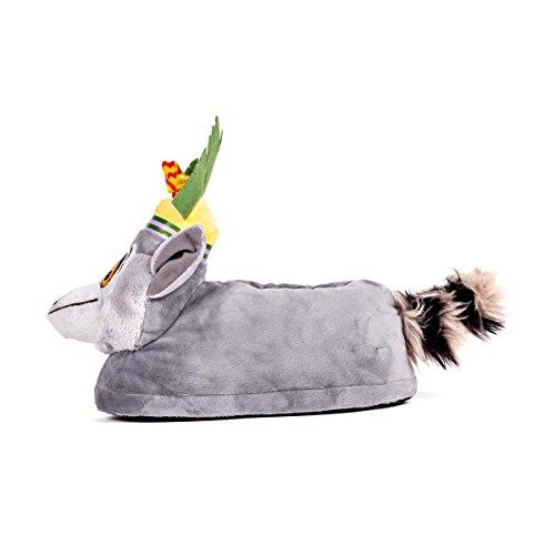 Sleeper'z Hausschuhe King Julien aus Madagascar Film - Rutschfeste Warme Plüsch Tierhausschuhe