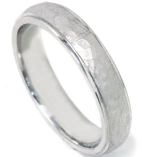 Pompeii3 Hammered Wedding Band Argentium Sterling Silver