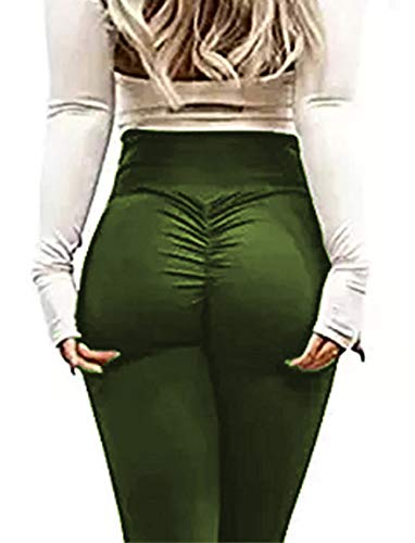 dc5411ea9c972 RIOJOY Yoga Pants for Women Ruched Butt Compression Fitness Leggings Butt  Lift High Waist Stretchy Workout