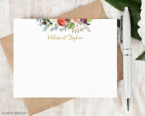 DIVINE COUPLES FRAME - Personalized Floral Flat Note Card Stationery / Stationary Set (Peony Card Flat)