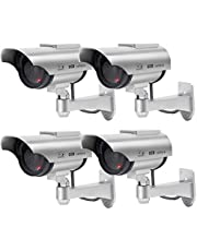 Solar Dummy Security Camera, Bullet Fake Surveillance System with Realistic Red Flashing Lights and Warning Sticker Indoor Outdoor (4, Silver)