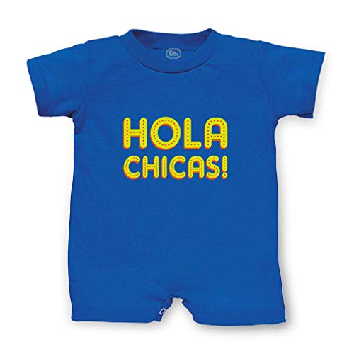 Hola Chicas Short Sleeve Taped Neck Boys-Girls Cotton Infant Romper Jersey Tee - Royal Blue, 18 Months