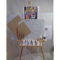 Kit Set de Pintura al Oleo, Basico, con caballete boceto leon