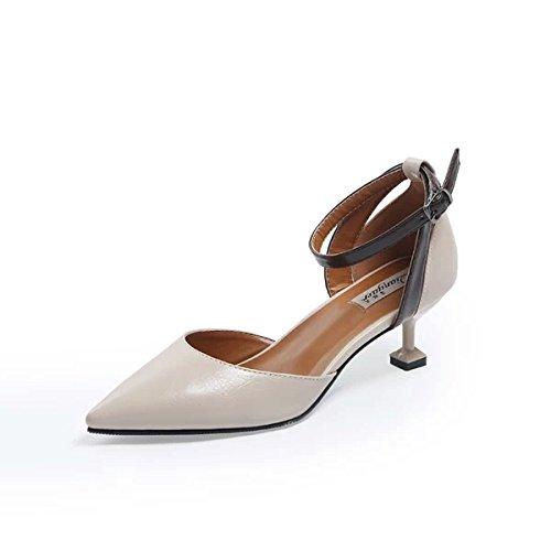 Les EU39 Creux Et Faible Boucle Chats Baotou Suivie 5Cm Chaussures Shoes Femmes Sandales Chaussures Heel Avec Avec Créneaux Bien Unique À SHOESHAOGE Astuce L'High qvw6BZga