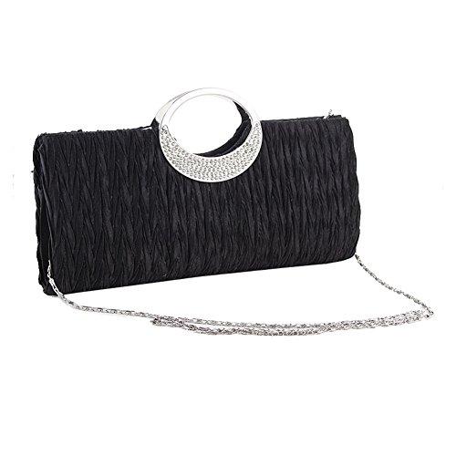 Dxlta Blanc Satin en Noir pour sacs à Strass de Soirée femmes sacoche et sac main Mode fête nuptiale Noir de Pochette mariage rxwHqAr