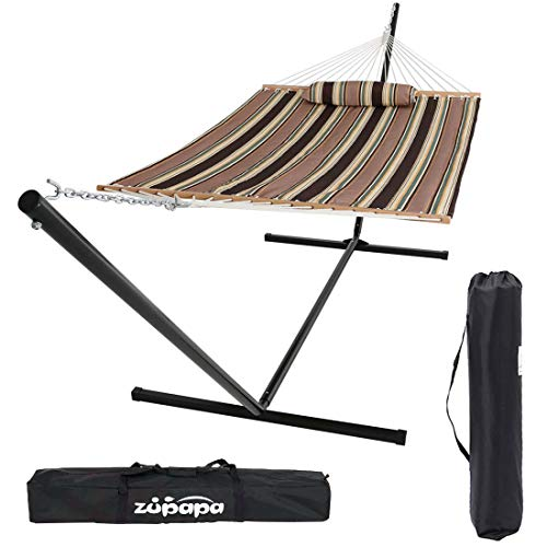Zupapa 15ft Hammock with Stand Heavy Duty 550 Pound Capacity w Spreader Bars and Pillow, 2 Person Double Hammock, Perfect for Indoor Outdoor Patio, Deck, Yard w 2 Storage Bags
