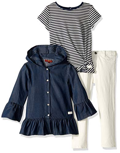 7 For All Mankind Kids Girls' Toddler Sweater Top, Striped Slub T-Shirt, and Denim Jean Set, Navy Medium WASH/White, 3T (All 7 Mankind Sweater For)