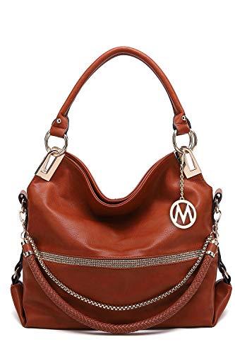 MKF Hobo Crossbody Bag for Women - Satchel Shoulder Handbag - Vegan Leather Top Handle Purse Removable Strap Brown