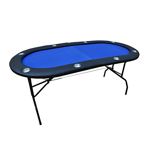 IDS Poker 73 inch 8 Players Texas Holdem Poker Table with Padded Rails and Cup Holders Blue Felt Foldable Legs ()