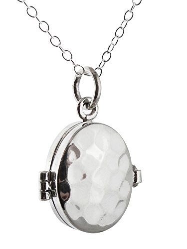 Sterling Silver Small Hammered Finish Oval Photo Locket Necklace, 18