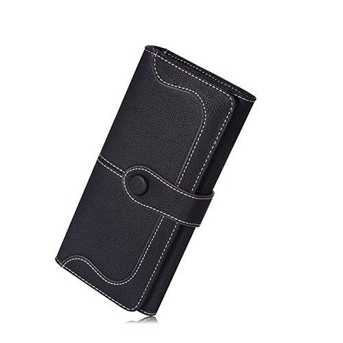 (Women's Wallet Faux Vintage Leather Holder Clutch Long Bifold Checkbook Wallet Purse (Black))