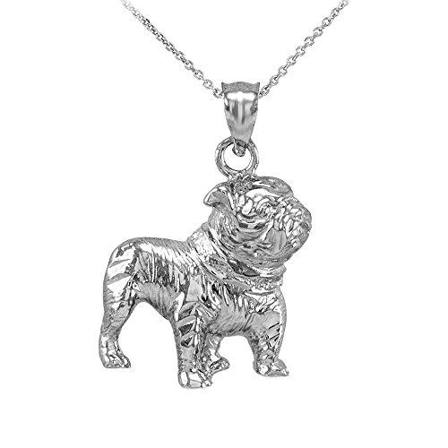 Animal Kingdom Polished 925 Sterling Silver English Bulldog Charm Pendant Necklace, 18