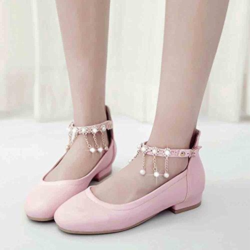 Easemax Delle Donne Catene Di Perline Dolce Ciondolo Strass Cinturino Alla Caviglia Scarpe Tacco Basso Scarpe Grandi Tacco Rosa