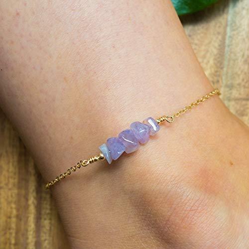 Amethyst bead bar crystal gemstone anklet in 14k gold fill - 8