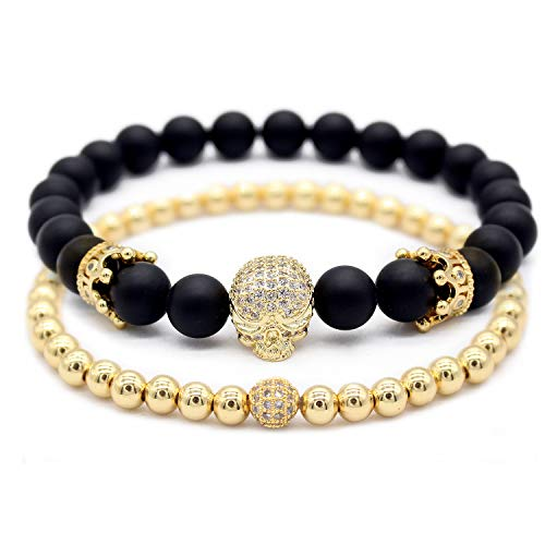 Matte Gold Bracelet - GEMFEEL 2pc/Set Cubic Zirconia Crown Skull Bracelet Black Matte Onyx Natural Stone Beads Bracelets for Men,Gold