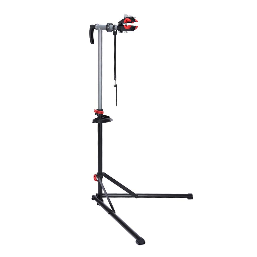 unisky Foldable Mountain Bike Repair Rack Stand, Adjustable Height Bicycle Maintenance Rack Workstand with Tool Tray
