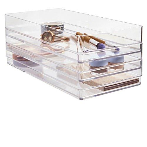 """STORi Clear Plastic Drawer Organizers 12"""" x 6"""" x 2"""" l Set of"""