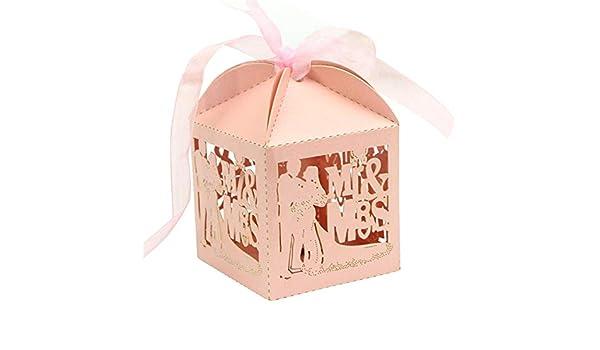 Hippicity - 50 Cajas de Caramelos Cortadas con láser para Novios y Novios con Cintas, para Bodas, Fiestas, Regalos de Bricolaje, Caja de Regalo para bomboniere de Compromiso, Rosa, 5x5x7.5cm: Amazon.es: Hogar