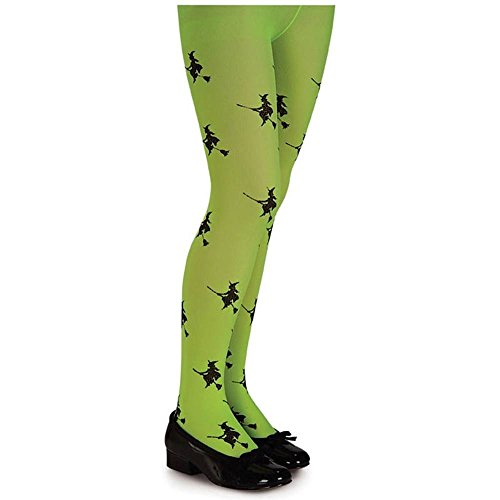 Lime Green Glitter Witch Child Tights