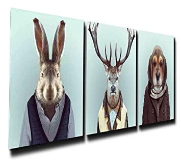 Gardenia Art – Mr. RABIT Elk and Dog Canvas Prints Modern Wall Art Paintings Stretched and Framed Artwork for Room Decoration,16×16 inch Ready to Hang