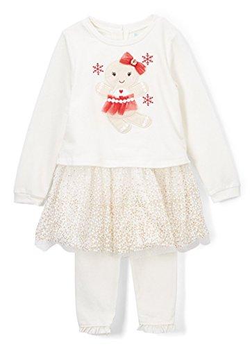 (Nannette Baby Girls Glitter Mesh Holiday Dress and Leggings Set, Ivory (3-6 Months))