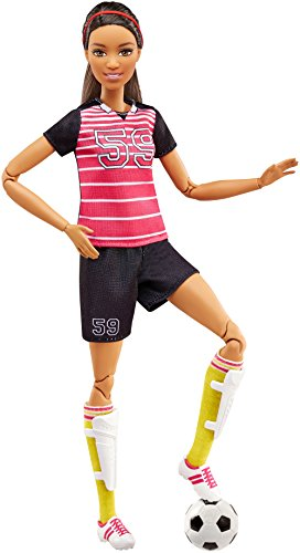 Barbie  Made to Move Soccer Player Doll, Brunette -