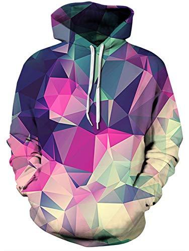 TUONROAD Digital Print Cool Custom Hoodie Shirt Purple Navy Blue Turquoise Geometric Color Block Lightweight Comfortable Sweatshirt Pullover with Adjustable Drawstring and Big ()