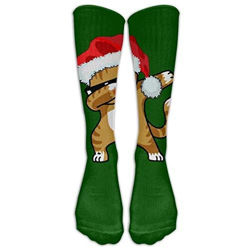 HUASEN Dabbing Cat Kitten Merry Christmas Athletic Tube Stockings Women Men Classics Knee High Socks Sport Long Sock One Size