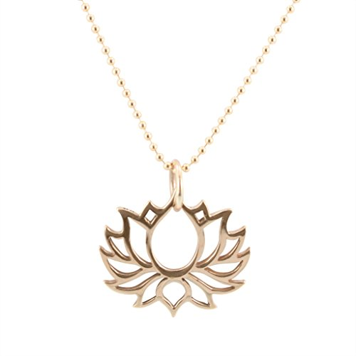 Bronze Open Lotus Necklace on Gold Filled Bead Chain, #6584-brz (16 Inches)