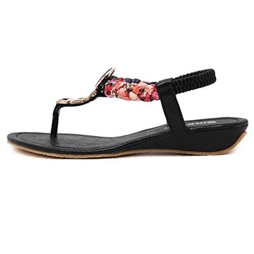 COOLCEPT Mujer Moda Ankle Strap Thongs Tacon de cuna bajo Slingback Flip Flop Zapatos Negro