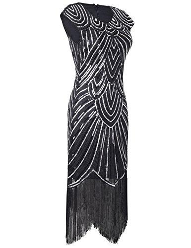 PrettyGuide Mujeres 1920 Gatsby diamante lentejuelas embellecido con flecos Vestido flapper negro