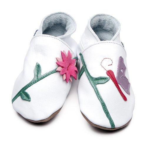 Inch Blue - 0500 M - Chaussures Bébé Souples - Oriental Butterfly - Blanc - T 19-20 cm