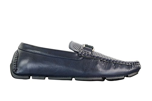 Buckle Perforated Loafers Blue Brown Black Navy Black Driving Leather PU Shoes Mens AFaq6wxn