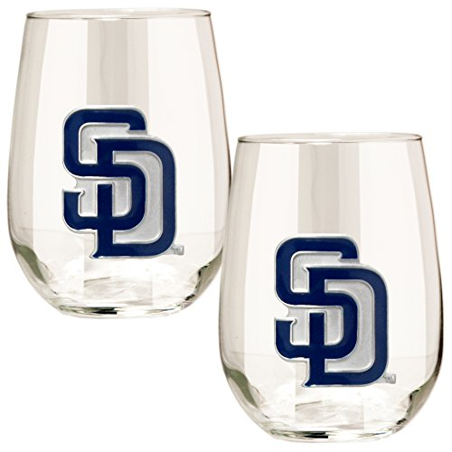 MLB San Diego Padres Stemless Wine Glass Set (2-Piece), 15-Ounce, Clear