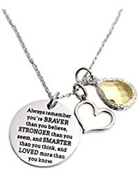 You Are Braver Than You Believe Awareness Necklace...