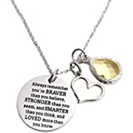 You Are Braver Than You Believe Awareness Necklace Birthstone Graduation Gift Best Friend...